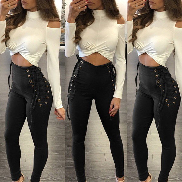 Plus New Fashion Sexy Women Casual High Waist Lace Up Stretch Slim Trousers Long Pants Legging