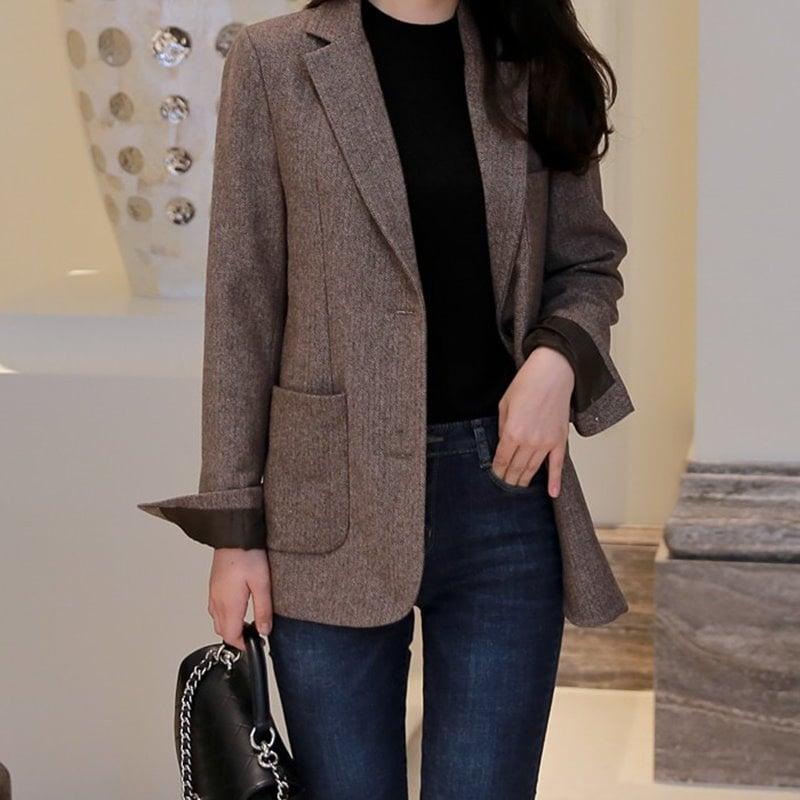 [2017 F/W 新商品] ルーズフィットデイリーアウター ★ Clay ジャケット ★ 韓国ファッション BEST ♡ 送料無料 / ブラウンヘリンボーンジャケット ♡