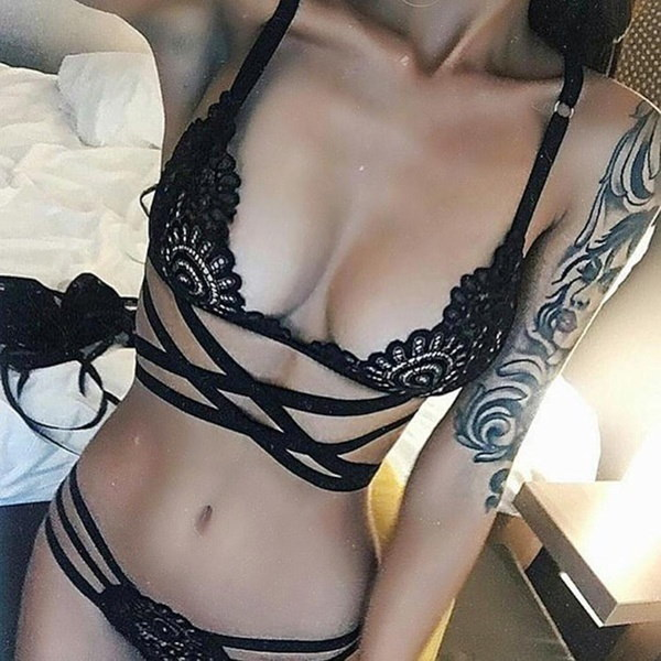 Brand New Women Casual Lace Bandage Cross Bikini Set Hollow Out Sexy Underwear Bikini Sets