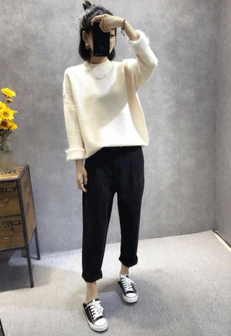 袖もこふわニット!「送料無料」シンプルニット セーター 袖もこふわ 暖かい ゆったり長袖 着心地満点 セーター 可愛い レディース 冬 愛らしいムード 5color [jfx333]