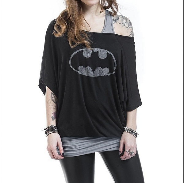レディースレディース半袖バットマンスーパーヒーロープリントルーズTシャツトップ