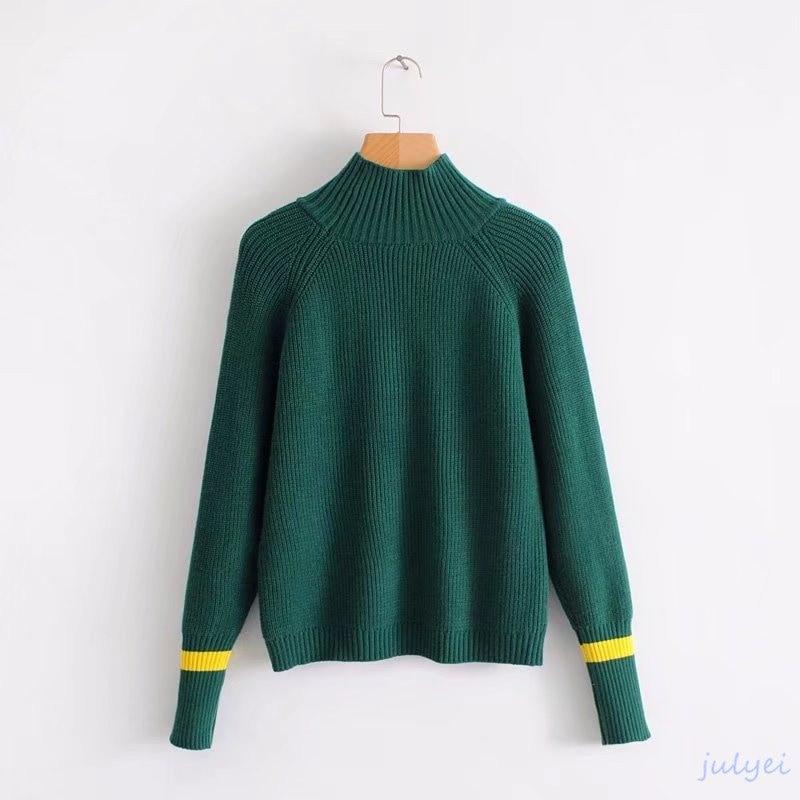 全4COLOR    欧米風  ハイネックセーター 配色ニット ひも ニットウエア  着やせ ニット 長袖/レディース トップス  グリーン、レッド、グレー、ネイビー