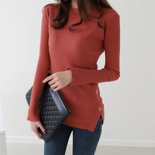 [Dimming] Fine Espique Golly Knit 5 Colors Autumn Knit Sleeve Tops Knit Slanted Button Slim Fit Knit