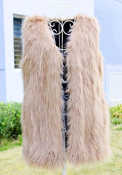 フェイクファーボディーウォーマー女性レディースベストウォーターコートジレノースリーブジャケット2色A_L