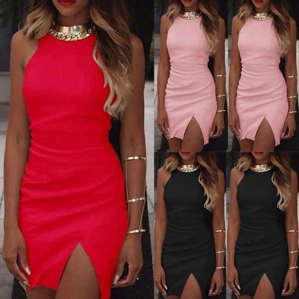 ファッション女性の包帯Bodyconノースリーブイブニングセクシーなパーティーカクテルミニドレス3色