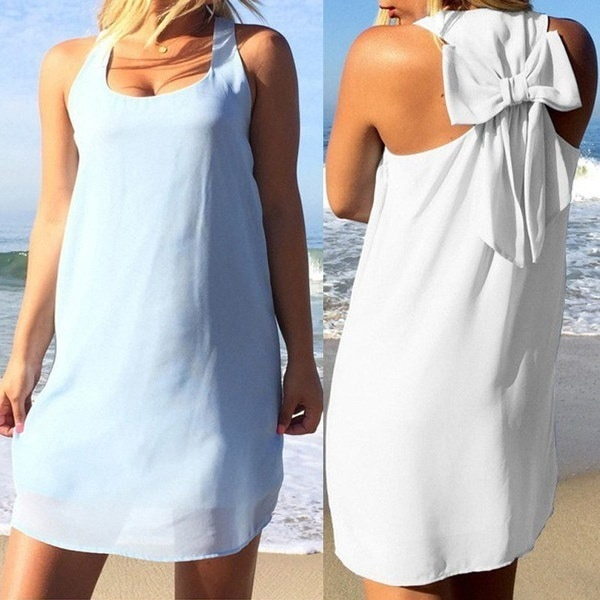 Sexy Women Fashion Dress Casual Sleeveless O-neck Halter Bow Tie Loose Dresses Party Beach Short Min
