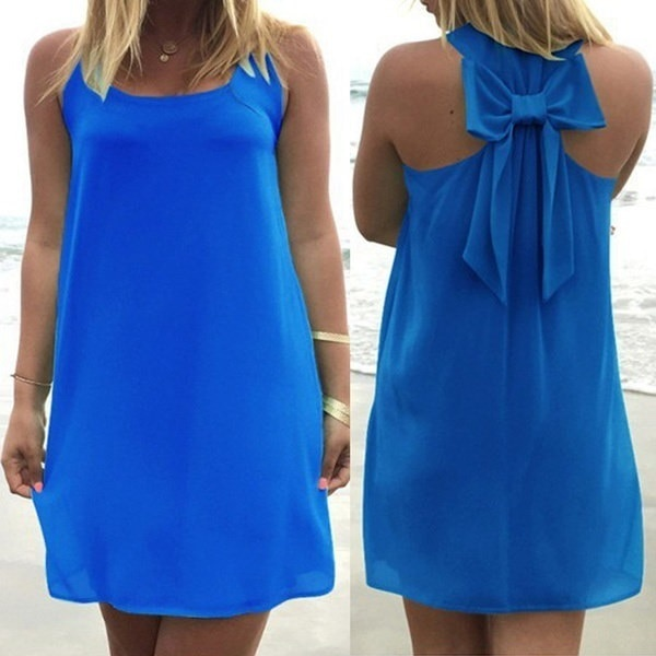 Sexy Women Fashion Dress Casual Sleeveless O-neck Halter Bow Tie Loose Dresses Party Beach Short Min