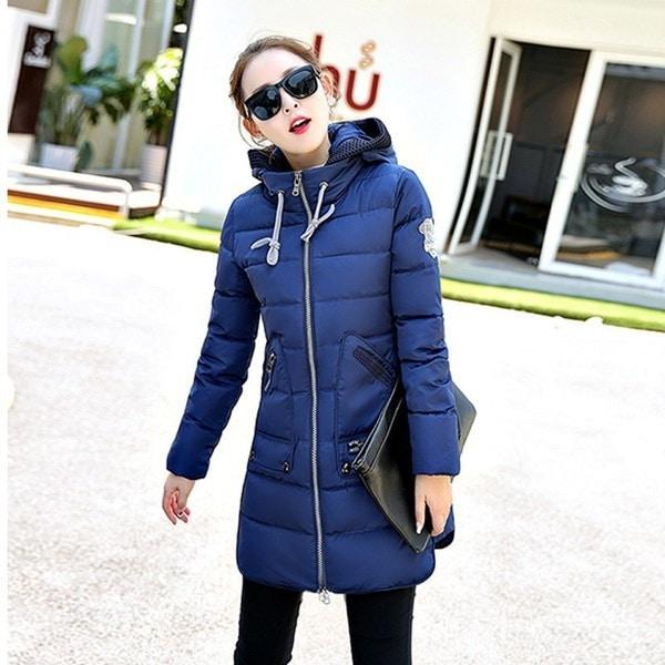 2017ファッション冬の女性のジャケットロングシックウォームダウンコットンジャケットスリムコートオーバーコートパーカー