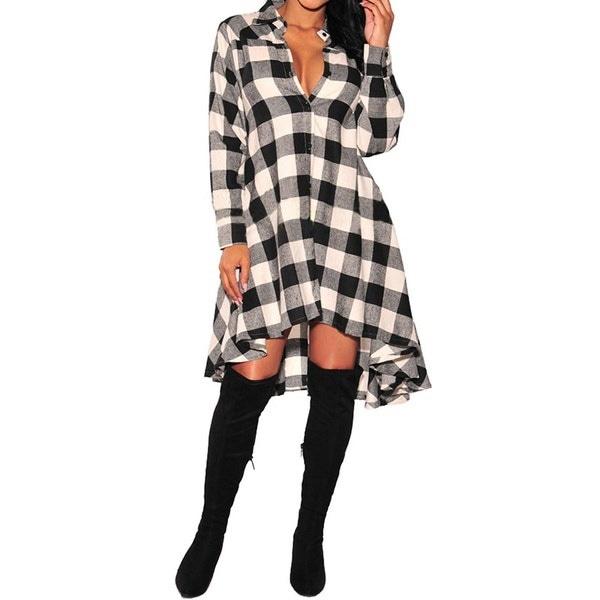ファッション女性レッドブルーブラック長袖不規則な裾コットンスリムフィットのチェック柄スカートファッションファッション