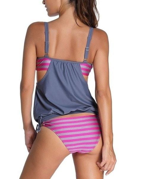 プラスサイズのセクシーな女性のファッションストライプは、タンキニビキニ水着(S  -  5XL)