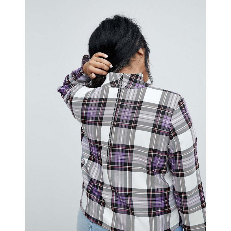 エイソス レディース トップス【ASOS CURVE Funnel Neck Check Top】Check print