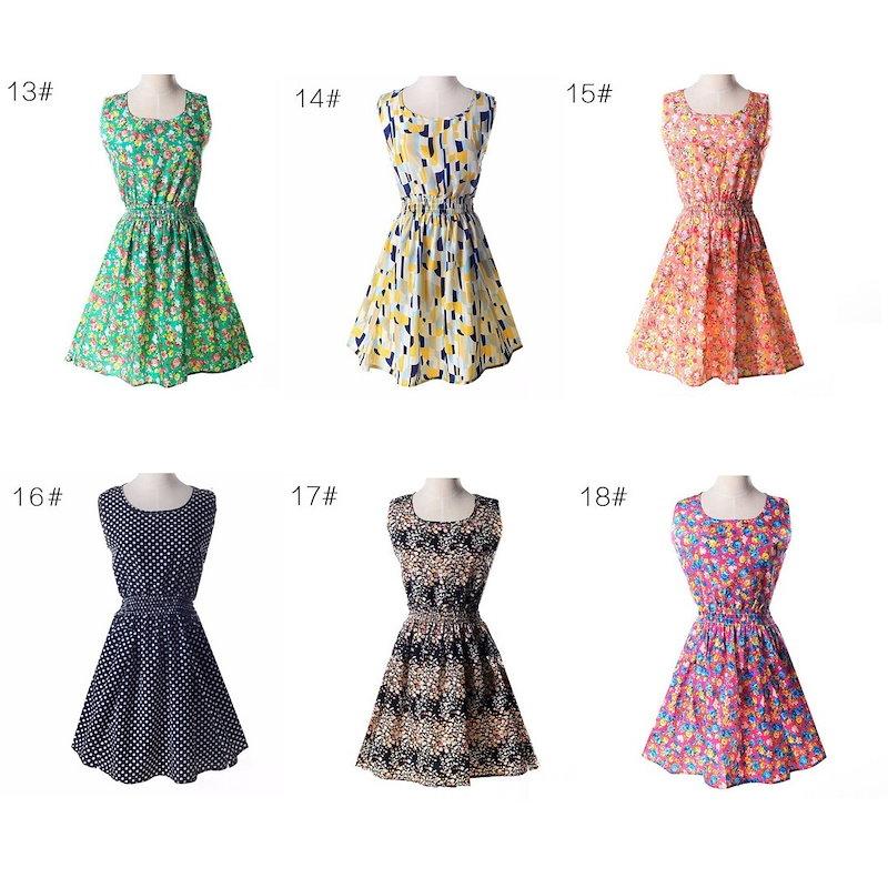 【Miss R PINK】 デザインが選べる♪ノースリーブ ドレス プリント シフォン ワンピース (25色)