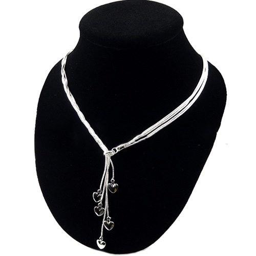 新しいベストチャームファッションソリッドハートペンダントシルバーメッキチェーンネックレス