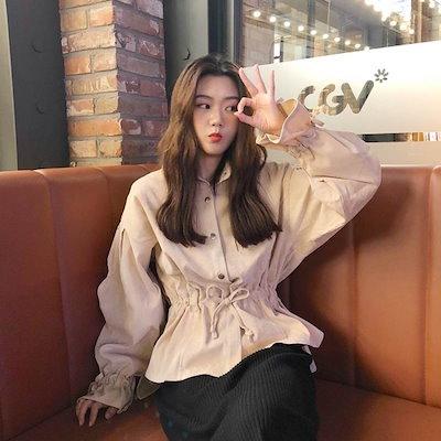 シャツ レディース 大きいサイズ ウエストマーク ドロップショルダー ボリュームシャツ 2色 韓国デザイン 韓国ファッション オルチャン 春服 春新作 新作 5205314