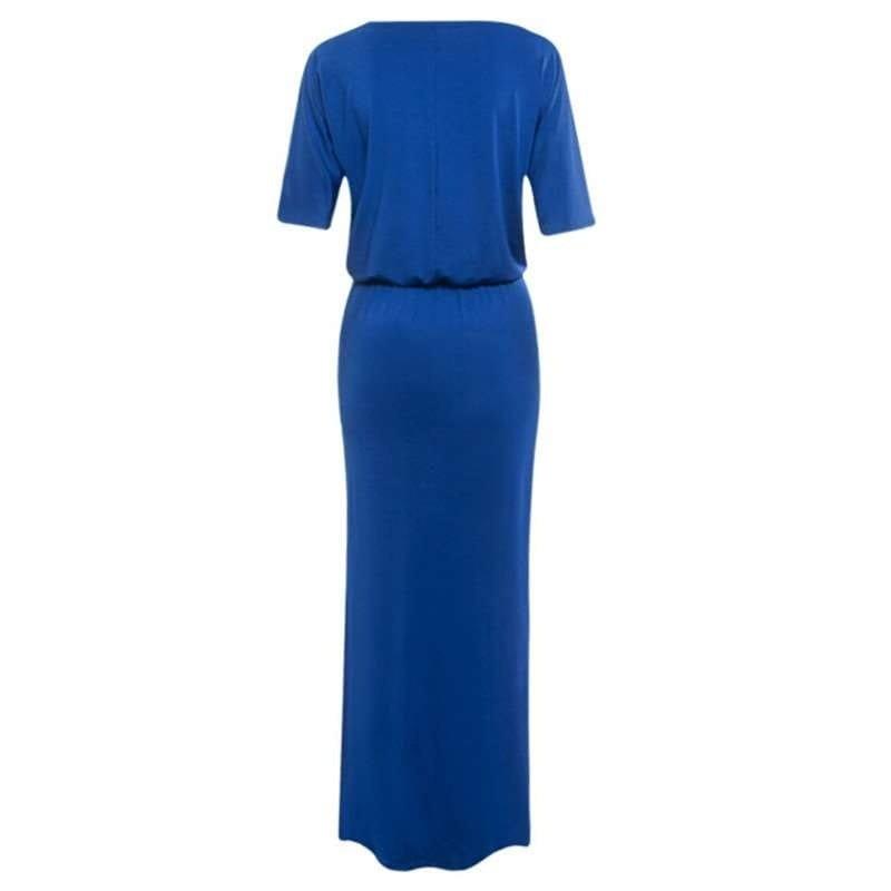 夏の女性のロングドレスファッションワンショルダーサイドスプリット半袖カジュアルルーズドレス