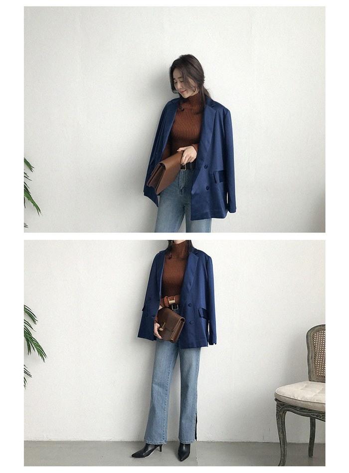 [ナンニン9]【送料無料】すっきりと着られるテーラードジャケット。サテン テーラードジャケット レディース ロング 秋/テーラード ジャケット ダブル/ダブルジャケット レディース 大きいサイズ オフィス:nani