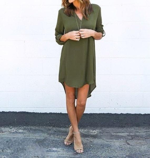 女性のファッションロングスリーブVの襟のシンプルなシフォンロングワンピースの後に短い前に