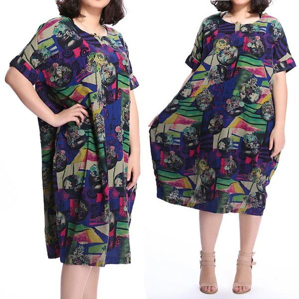 プラスサイズS-5XLヴィンテージ女性ショートスリーブ花カジュアルバギーロングシャツドレス特大サイズ