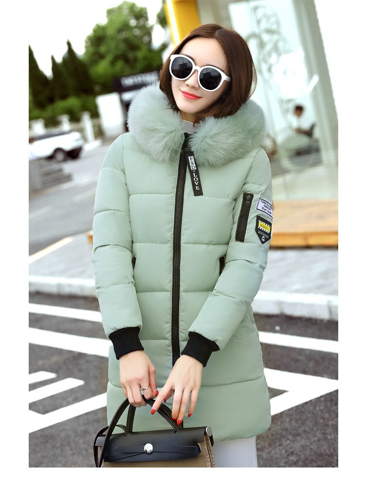 2017秋と冬の服、新しい女性の綿、長いパラグラフコットンダウンスリムな暖かい毛皮の襟、女の子のコート厚い韓国版のコート