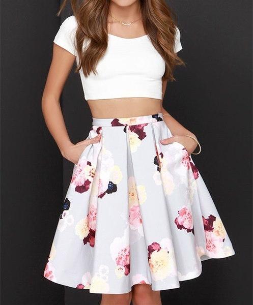 ファッション女性のスカートカジュアルな花プリントプリーツミディスカート