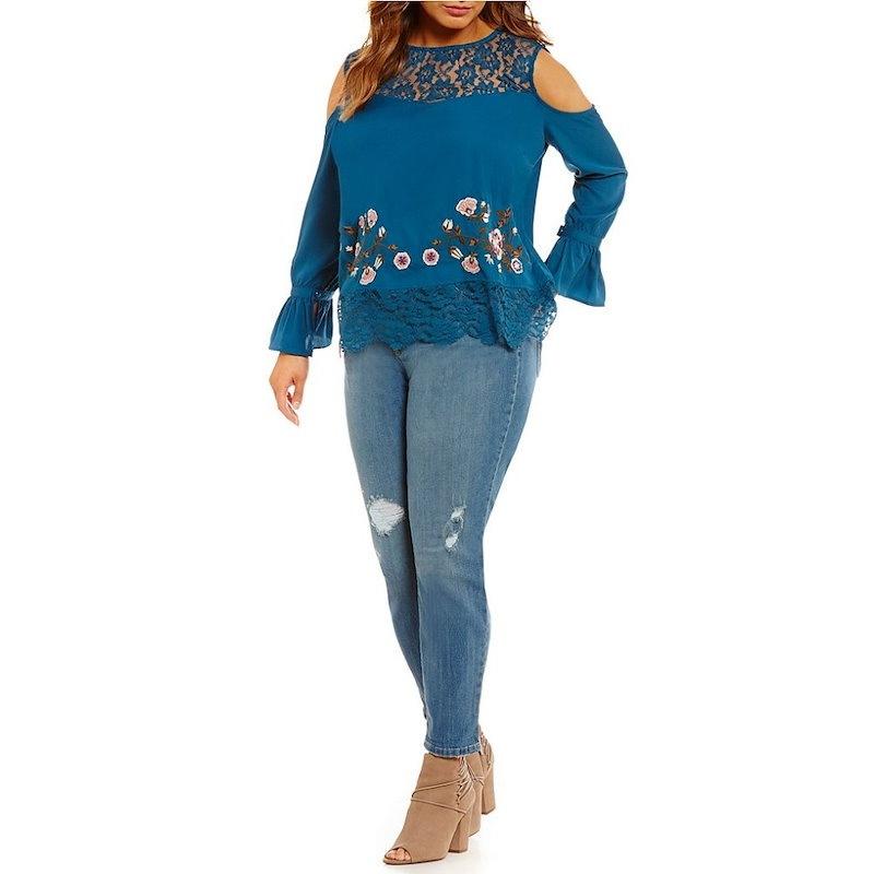 ジェシカシンプソン レディース トップス ブラウス・シャツ【Jessica Simpson Plus Dara Lace Embroidery Top】Legion Blue
