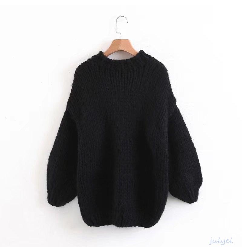 2カラー 欧米風  手作りモヘアニット レトロなゆったり粗毛糸の秋冬のパフスリーブの乙女心セーター
