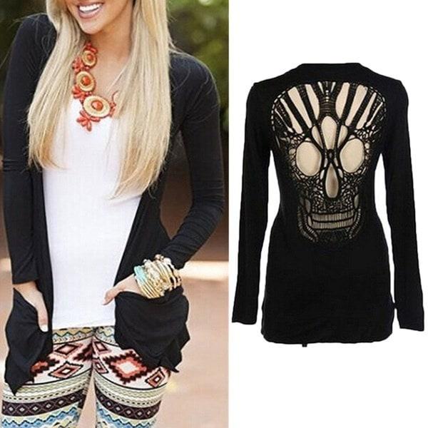 魅力的な女性の黒いロングスリーブシャツ中空の頭蓋骨の裏地付きセータージャンパーカーディガン