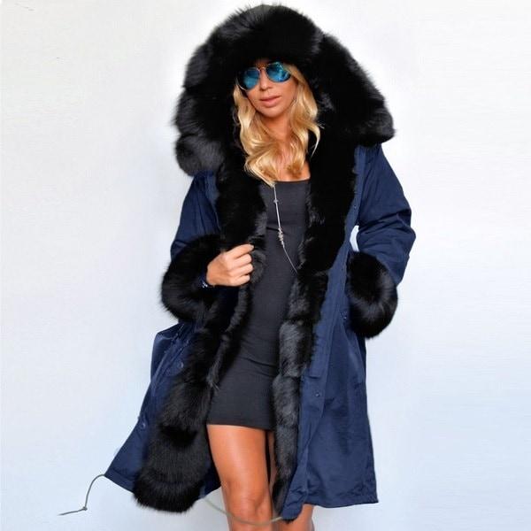 新しいファッションラグジュアリー女性フェイクファーコートカジュアルフードパーカーレディースロングトレンチジャケット