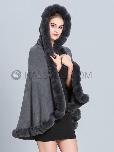 ファーえり 上質感 優雅気質強調 フード付き 大人っぽい 女性 ケープ