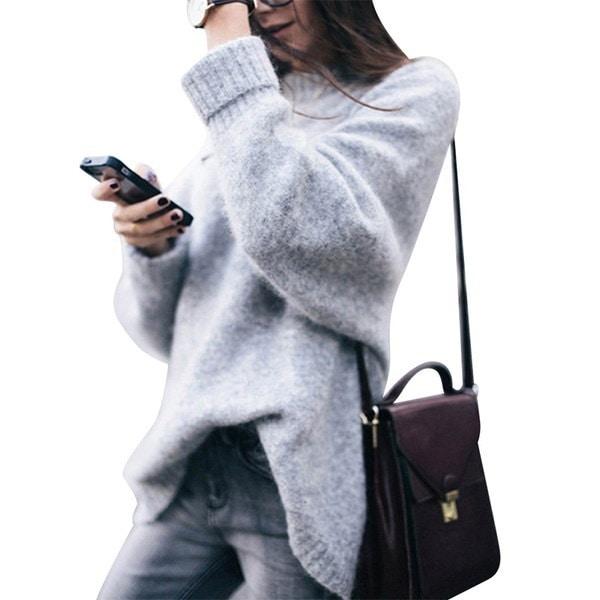 2017レディースファッションOネック長袖厚手プルオーバーニットセータールーズトップ
