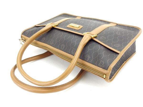 クリスチャンディオール Christian Dior ハンドバッグ トートバッグ メンズ可 ロゴプレート付き ブラック×ブラウン×ゴールド PVC×レザー (あす楽対応)人気 セール【中古】 Y342