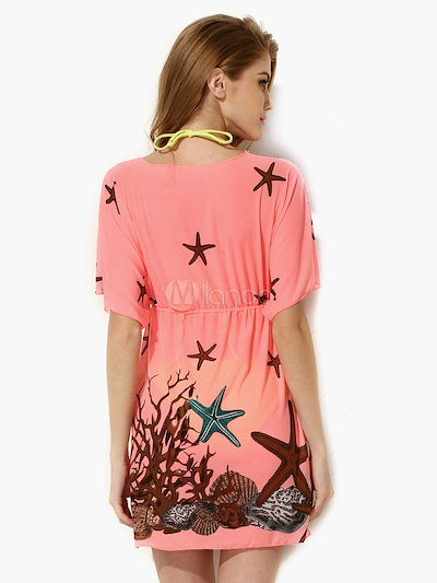 Sweet Spandex Printed Sheer V-Neck Cover Up For Woman