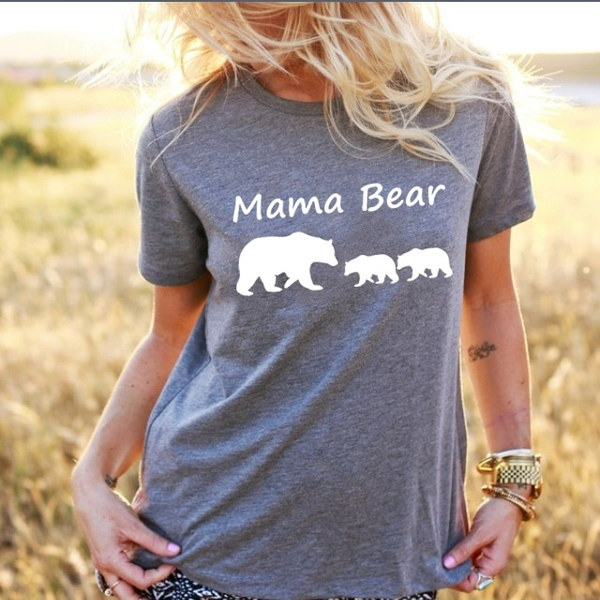 ママベアシャツ母の日ギフトTシャツママベアレタープリント女性Tシャツカジュアルコットンおかしい