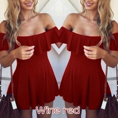 5色ファッションアパレルフリルスラッシュネック女性のドレス夏のスタイルコールドショルダーセクシーなドレスVesti