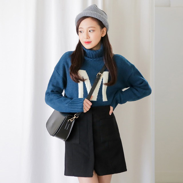 [Sonyunara] Em Paula Knit Daily Casual Basic Leisure Pits Busty Fit Border Goliath Sleeve Neck Polar