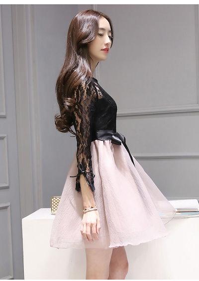 長袖花柄レースミニ丈ブラックドレス