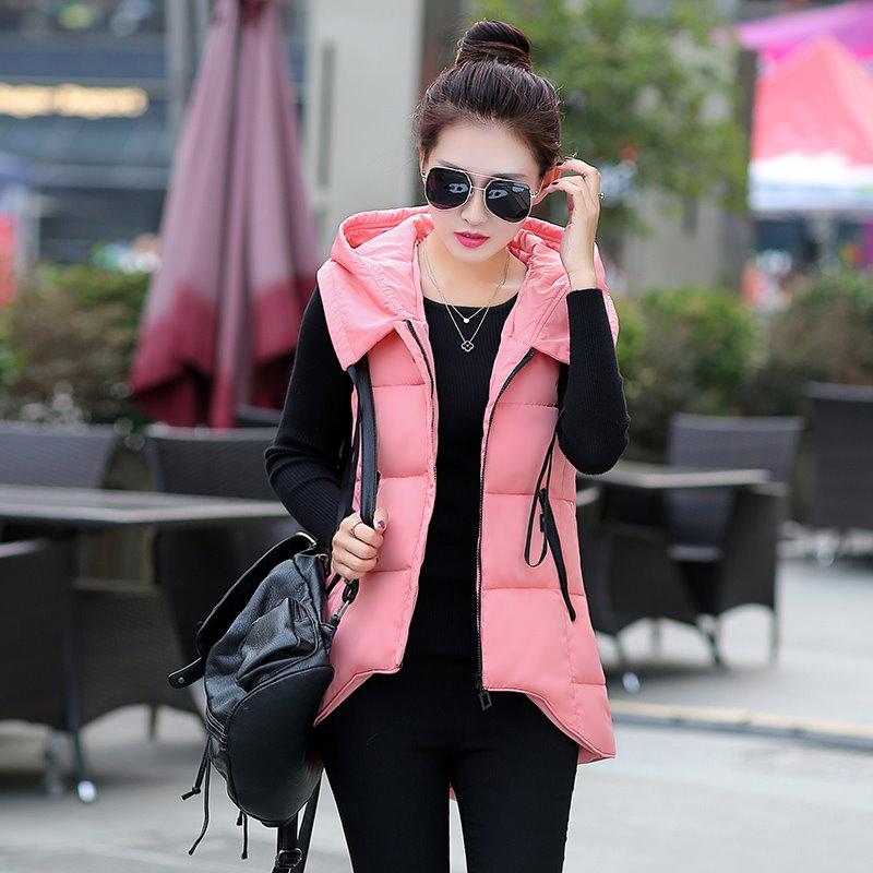 ロングベスト レディースファッション 帽子ベスト ジャケット韓国 ファッションシンプル純色 ロングタイプ中綿入りコート防寒秋冬新作大きいサイズアウター前開き チョッキベストルー