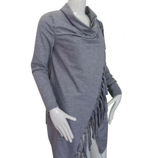 女性の長袖タッセルスラッシュブラウストップスシャツ