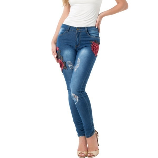 Marque Femmes Jeans Coton Maigre Broderie Jeans Denim Femmes Jeans D chir s D truits Hanche Trou Dam