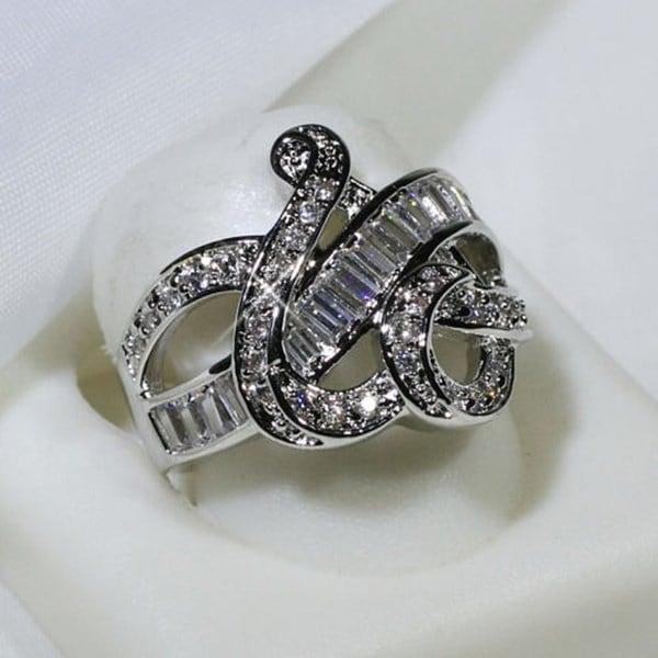 925スターリングシルバーホワイトサファイア結婚式誕生石の花嫁のエンゲージメントスクエアエッフェル塔ブランドHea