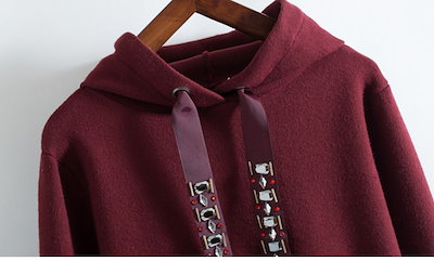 【e0062】ビジュー刺繍シンプルフードパーカー フーディー ボルドー 韓国ファッション