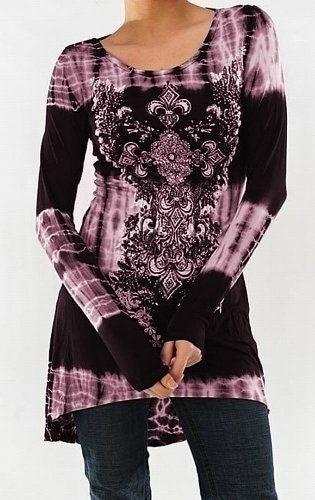 レトロスタイルの女性フレアフィット快適ルースフィットチュニックトップロングスリーブプリントブラウス