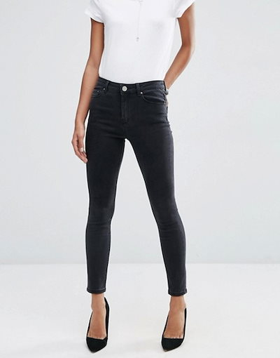 エイソス レディース デニムパンツ ボトムス ASOS DESIGN Ridley high waist skinny jeans in washed black