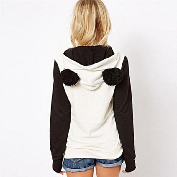 S-XXL大ふわふわのポンポンの耳の女性かわいいパンダの薄いか厚いウォームなパーカープルオーバーのフード付きコートジャケット