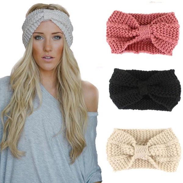 新しいスタイリッシュな女性かぎ針編みのヘッドバンドニットボウヘアバンド冬耳暖かいヘッドラップ