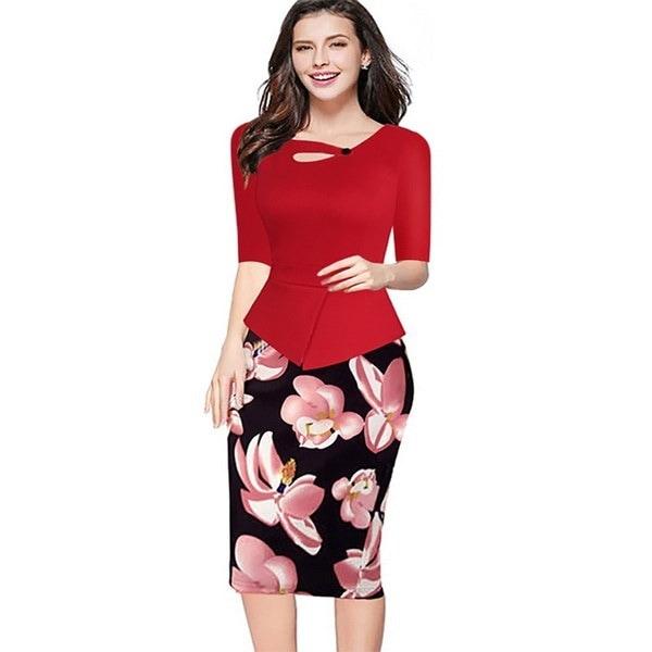 2014新しい女性エレガントな秋の春の半袖Vネックのバックジッパーのパッチワークの膝丈のイブニングパーツ