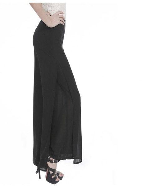 女性レディースヴィンテージルースハイウエストロングパンツシフォンサイドスプリットカジュアルパラッツォパンツワイドレッグ