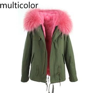 6色女性の冬の毛皮の襟のフード付きジャケット女性パーカナチュラルリアルファーコート