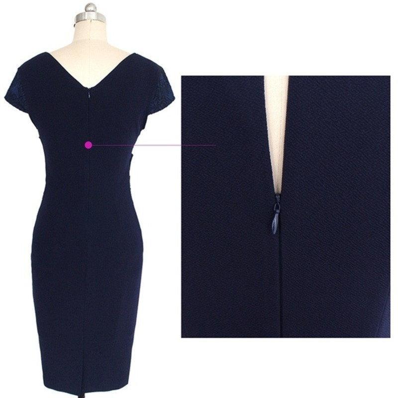 レディースディープVネック半袖シースエレガントチュニックビジネスパーティーボディコン鉛筆ドレス