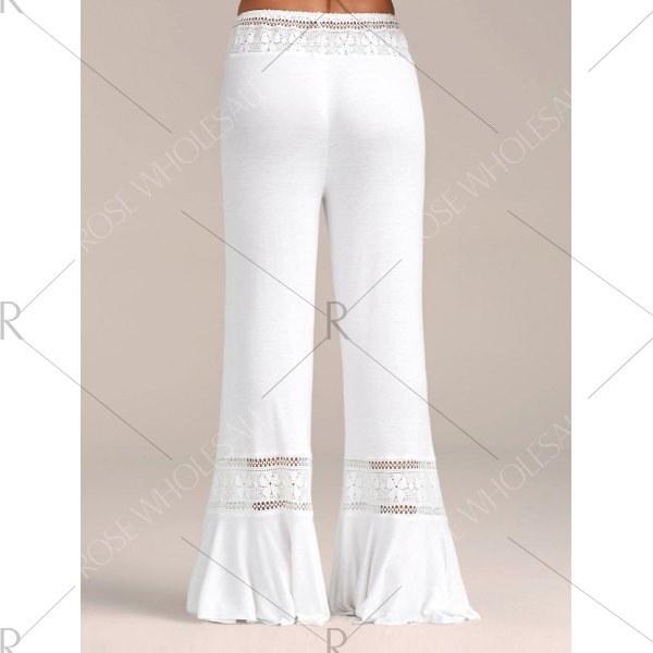 女性ファッションカジュアルハイウエストレースパネルパラッツォパンツ